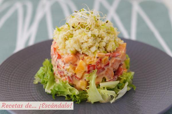 Como hacer ensalada de cangrejo o jaiba con pimientos y papaya