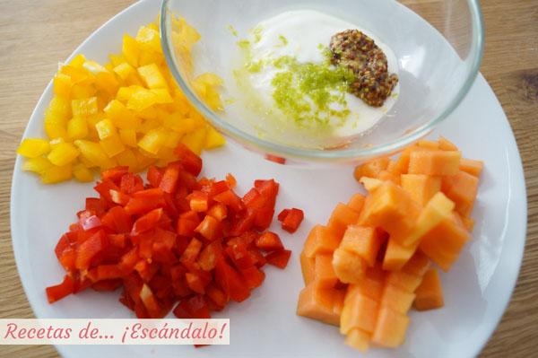 Ingredientes para la ensalada de cangrejo