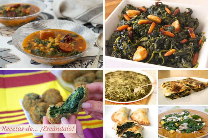 Espinacas, las mejores recetas, faciles y riquisimas