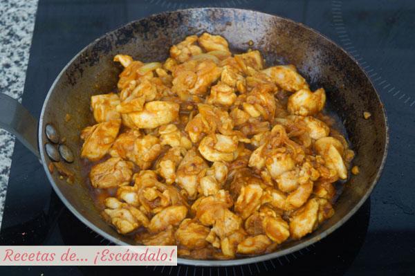 Receta de pollo al curry con arroz
