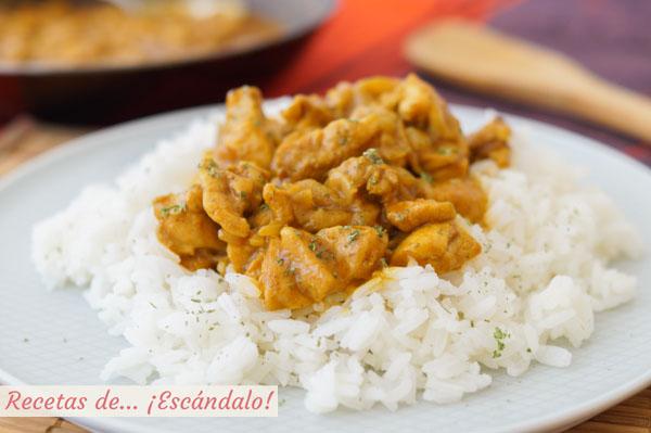 Receta facil y rica de pollo al curry con arroz y leche de coco