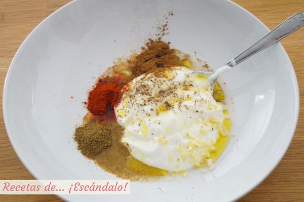 Ingredientes marinada pollo kebab