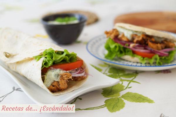 Receta de doner kebab o durum kebab de pollo con salsa tzatziki