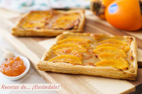 Receta de tarta de hojaldre y crema pastelera con kaki persimon