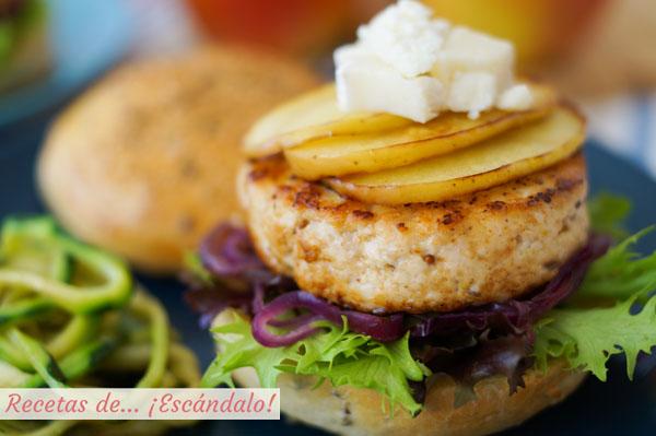 Como hacer hamburguesas de pollo con manzana a la plancha, queso de cabra y pan casero
