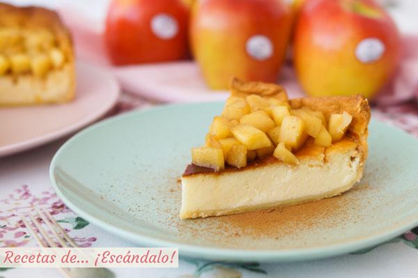 Como hacer tarta de queso y yogur al horno con manzana y masa quebrada