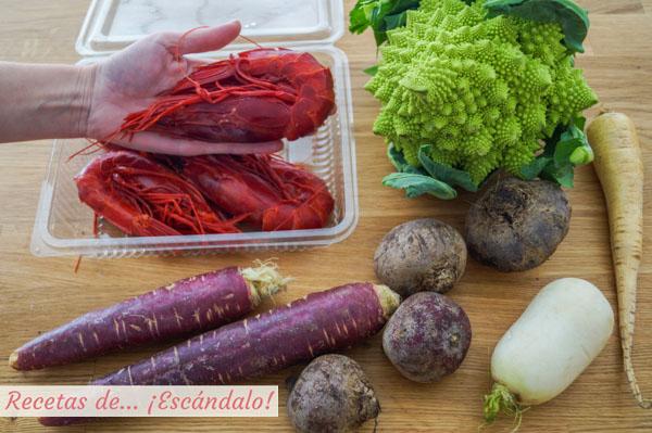 Ingredientes para los carabineros con romanesco y chips de verduras