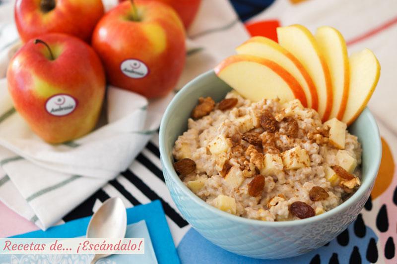 Porridge de avena o gachas de avena con manzana y canela