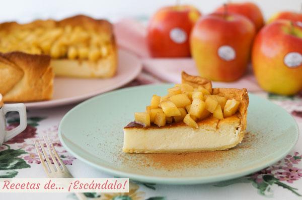 Receta de tarta de queso y yogur al horno con manzana y masa quebrada