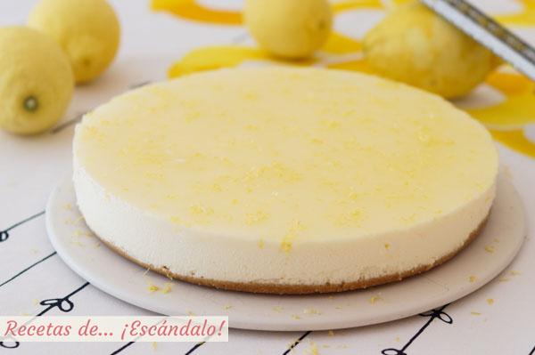 Como hacer tarta de limon y queso fria. Receta muy facil y sin horno