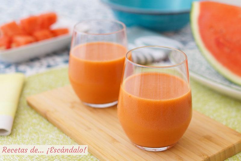 Gazpacho de sandia, refrescante y de sabor suave