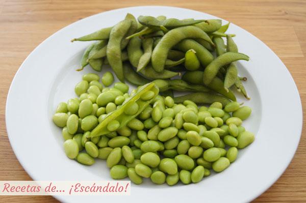 Edamame o vainas de soja verdes