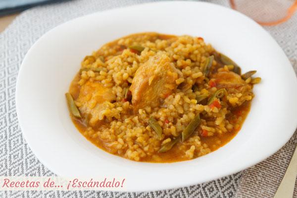 Receta de arroz caldoso con pollo, sencillo y sabroso