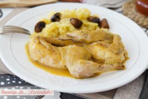 Perdices estofadas a la toledana con patatas a lo pobre. Receta tradicional