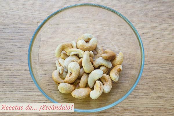 Anacardos tostados en microondas