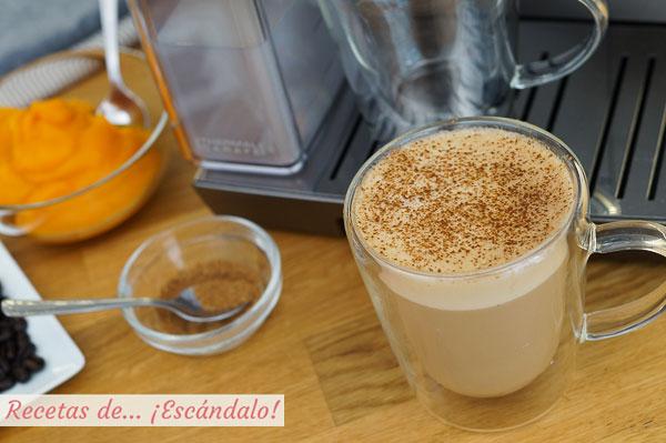 Receta de pumpkin spice latte o cafe con calabaza y especias, riquisimo