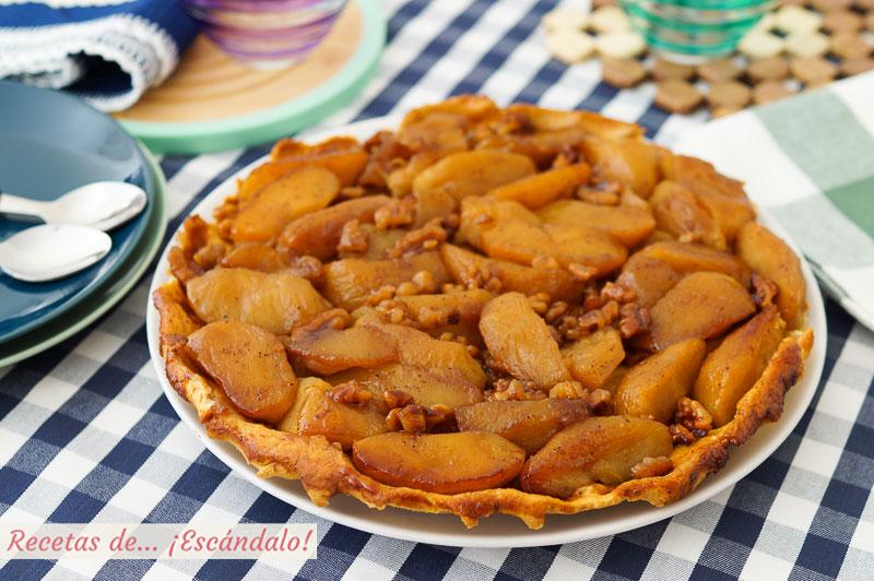 Tarta tatin de manzana con masa quebrada casera, deliciosa