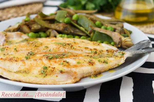 Receta de lubina a la plancha con alino de mostaza y guarnicion de verduras