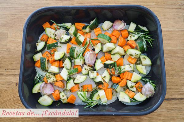 Guarnicion de verduras para conejo