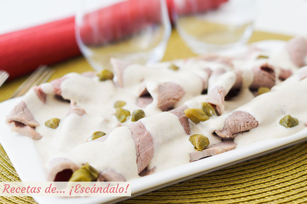 Receta de vitello tonnato o vitel tone, tradicional italiana