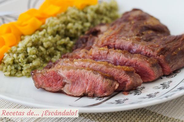 Receta de pluma iberica a la plancha con arroz a la albahaca y zanahorias al vapor