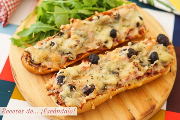 Como hacer pan pizza con bacon y champinones, una cena rapida, sencilla y rica