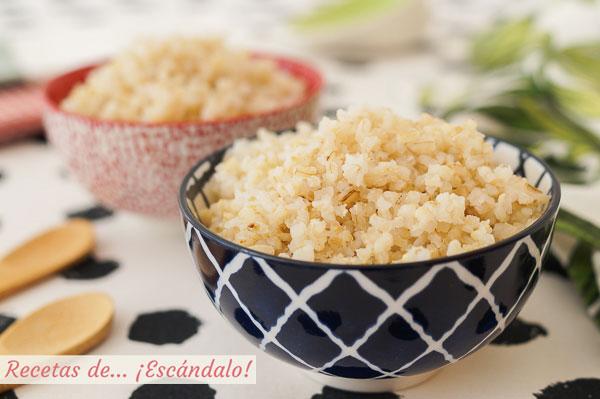 Receta de arroz integral cocido, suelto y sabroso