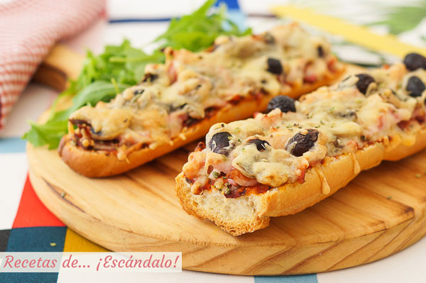 Receta de pan pizza con bacon y champinones, una cena rapida, sencilla y rica
