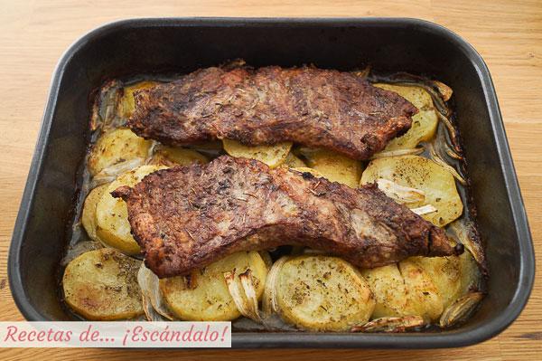 Como hacer secreto iberico de cerdo asado al horno con patatas y cebolla
