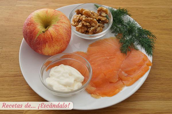 Ingredientes canapes salmon ahumado