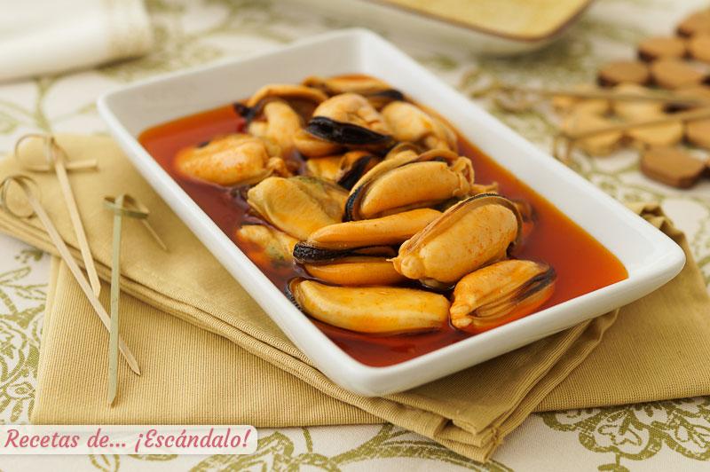 Mejillones en escabeche caseros. Receta de aperitivo muy facil y delicioso