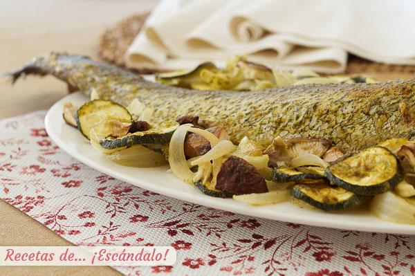 Como hacer corvina al horno con verduras y setas y alino de mostaza y alcaparras