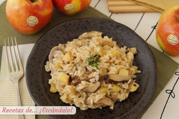 Como hacer risotto de setas y manzana, una combinacion deliciosa y diferente