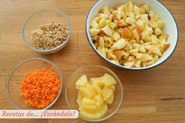 Ingredientes ensalada navidena de manzana