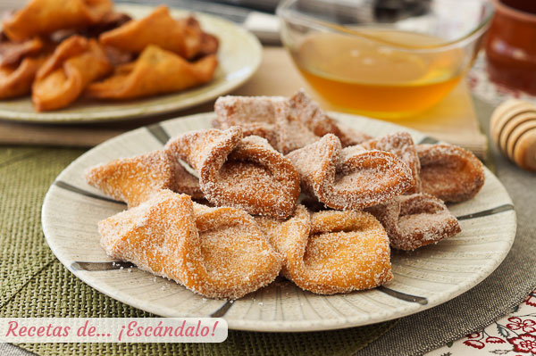 Receta tradicional de pestinos caseros con miel o azucar y canela