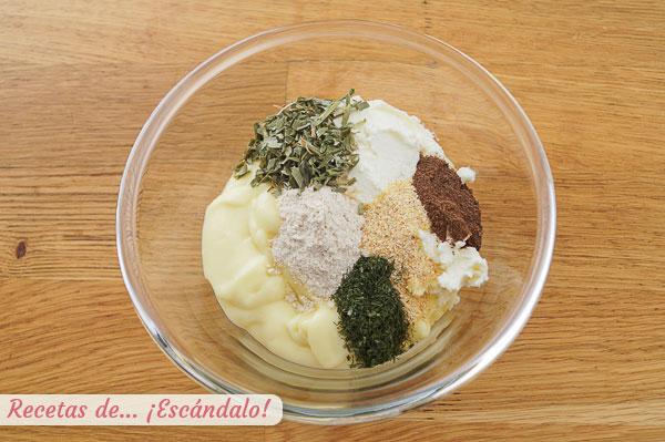 Ingredientes salsa o alino ranch